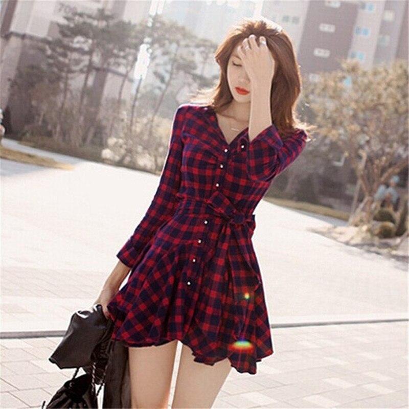 2016 New Fashion Women Lapel Long Sleeve font b Tartan b font Plaids Checks Mini Dress