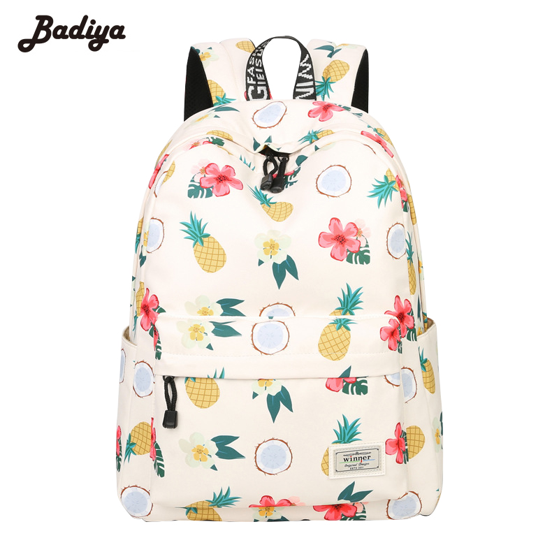 New Women Floral Pineapple Print Canvas Backpack Teenage Girls School Bags Summer Travel Pack Laptop Backpacks Mochila Feminina ranhuang women casual canvas backpack new 2017 women s fashion backpack school bags for teenage girls mochila feminina a695