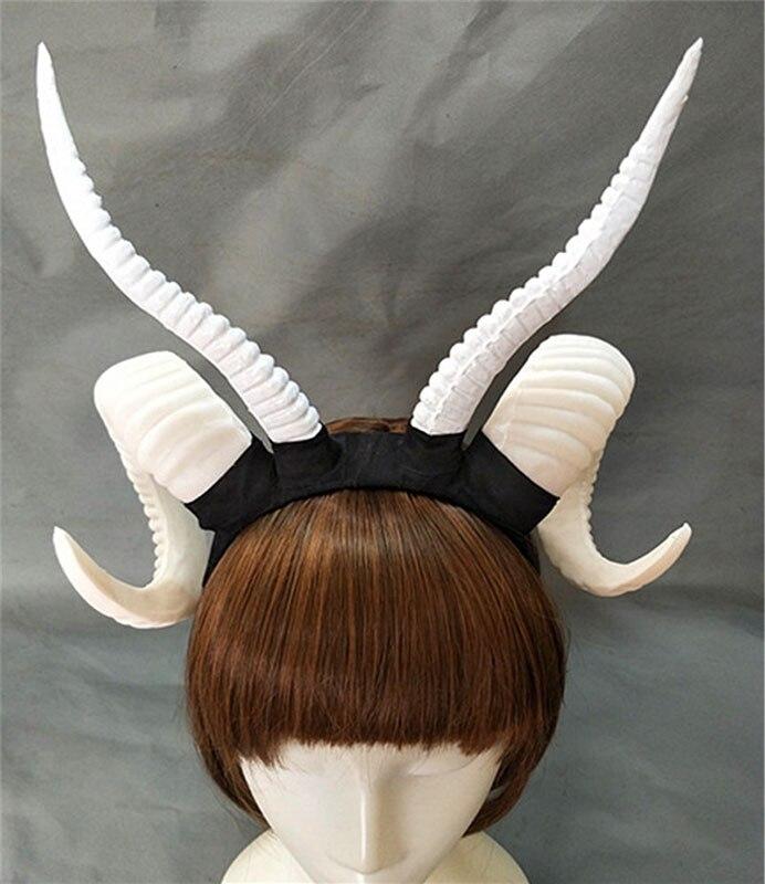 En gros diable sorcière gothique Lolita mouton corne bandeau bandeau accessoire Cosplay femmes Halloween chapeaux fête chapeau accessoires - 4