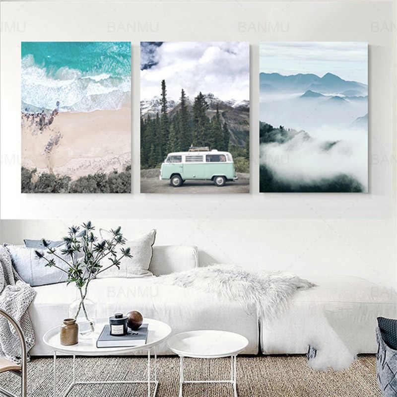 Современная Картина на холсте в скандинавском стиле, картина с пейзажным принтом, настенная художественная плакат, Модульная картина для украшения спальни, без рамки