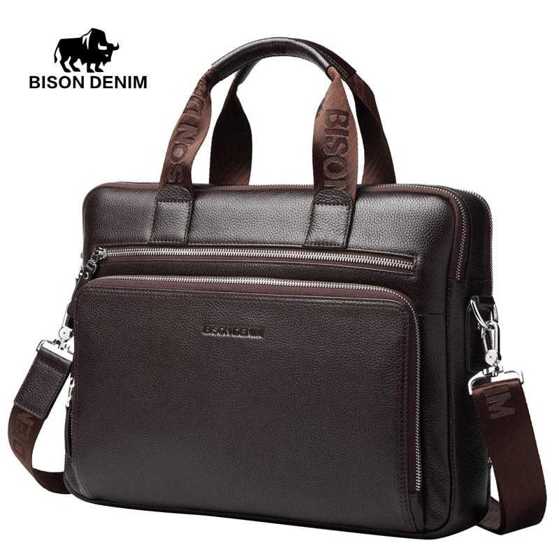 Genuine Leather Briefcases 14 Laptop Handbag Men S Business Crossbody Bag Messenger Shoulder Bags For N2333