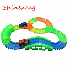 Shineheng Glowing Race Track Bend FlexIble Flash In The Dark Assembly Toy Plastic Crossing/Tunnel/Arch Bridge(China)
