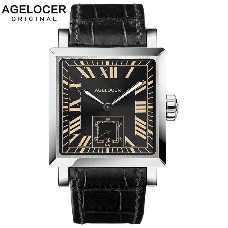 2019 AGELCOER marque suisse genève montre hommes montre-bracelet automatique mécanique montres résistant à l'eau Date calendrier avec étui de montre