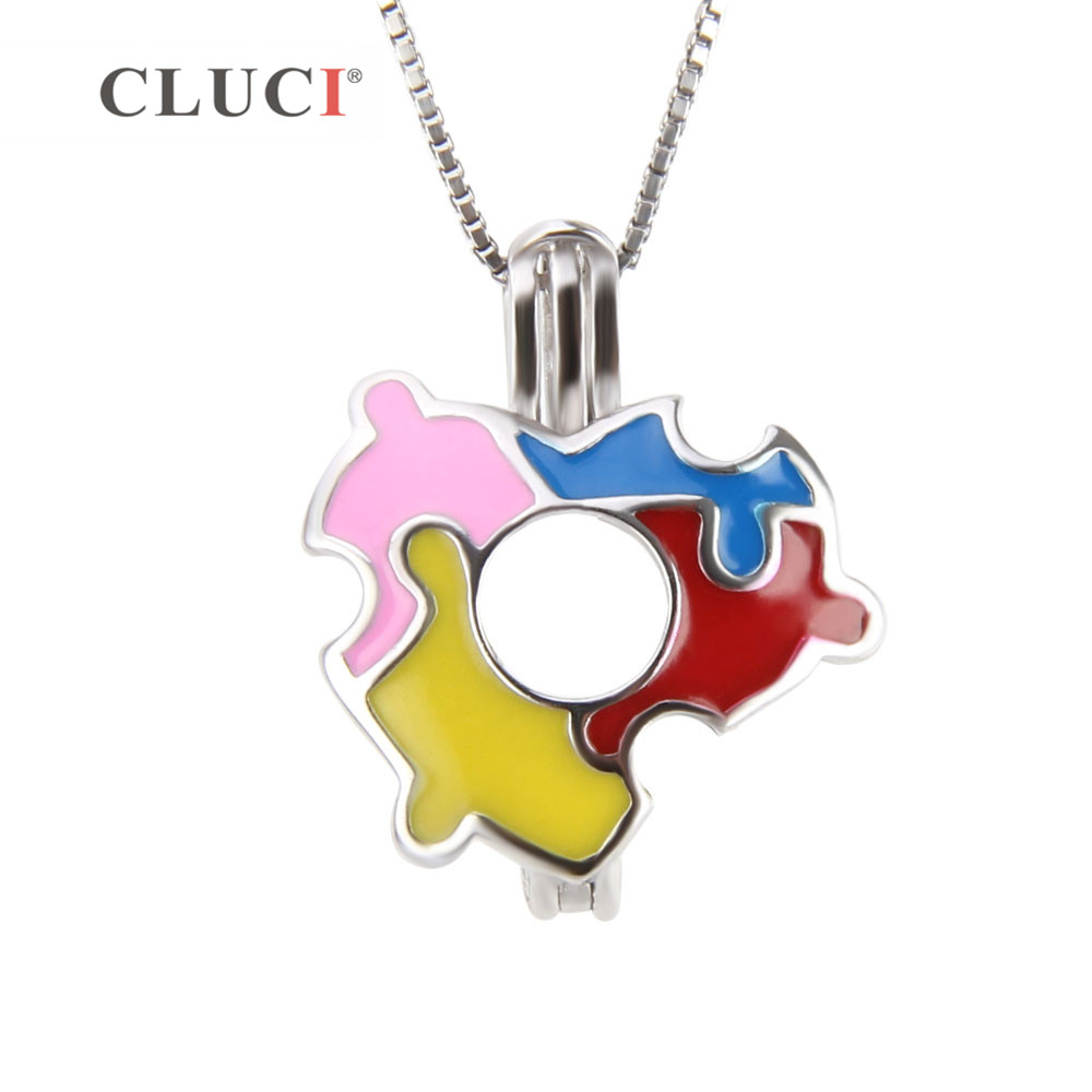 CLUCI 3pcs Autism Hope Jewelry Multi-Colored 925 Sterling Silver Autism Awareness Puzzles Pieces Pendant colorful pendant