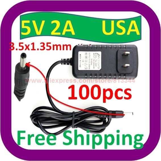 100 Stks Gratis Verzending 5 V Dc 2a 2000ma Ac Adapter 3.5mm X 1.3mm Thuis Lader Power Supply Cord
