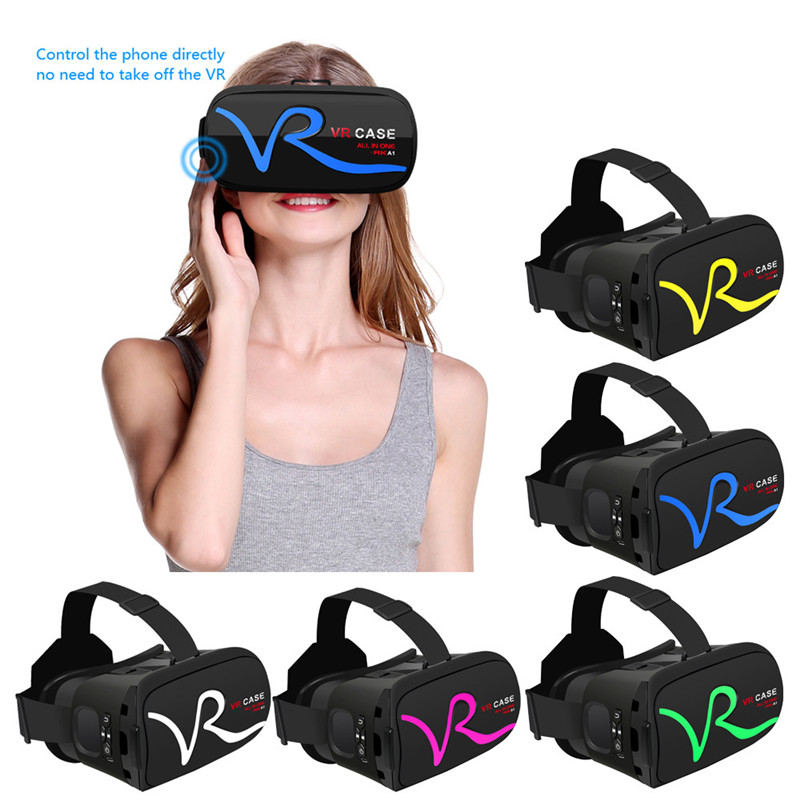 "3D VR Headset Virtual Reality Glasses VR Case All In One For 4.0""-5.8"" iPhone Samsung Moto LG Nexus HTC Wholesale 1"