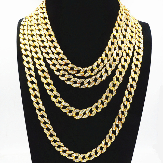 754bd2289321cf Customize Iced Out Finish Miami Cuban Link Chain Necklace Rhinestone  Crystal Bling Men's Hip Hop Jewelry 16,18,20,22,24 Inch