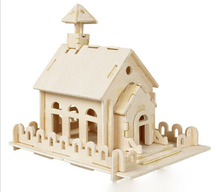 Freeshipping Small Church Building Wooden Scale Model DIY 3D Puzzle Toys