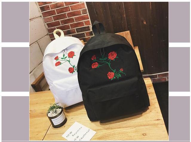 28f2d85071 Harajuku Rose Embroidery Backpack White Black Women Travel Backpack  Students Canvas Double Shoulder Bag