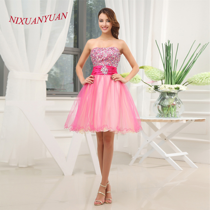 NIXUANYUAN 2017 Hot Sale A Line Tulle Party Dress Strapless Crystal Cocktail Dresses 2017 Short vestidos de cocktail Real Photos