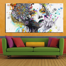 2017 huge wall art girl with flowers oil painting Prints Painting on canvas No frame Pictures Decor For Living Room