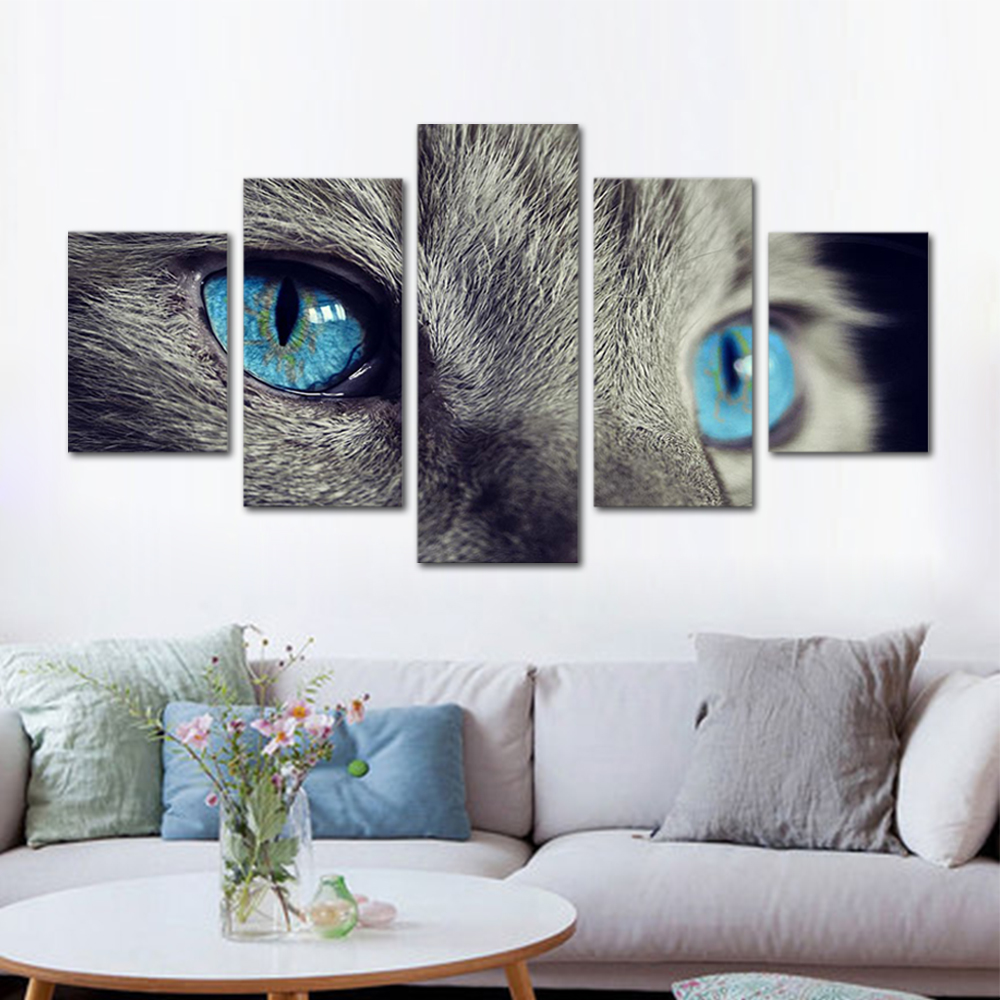 Unframed HD Print 5 Canvas Art Painting Gray Cat With Blue Eyes Living Room Decoration Animal Spray Painting Mural