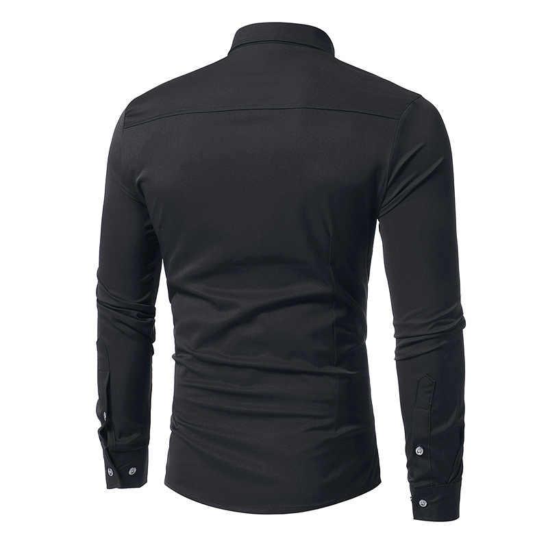 Mens Striped Fold Tuxedo Dress Shirts 2018 New Hipster Solid Black Slim Fit Long Sleeve Shirt Men Business Wedding Chemise Homme