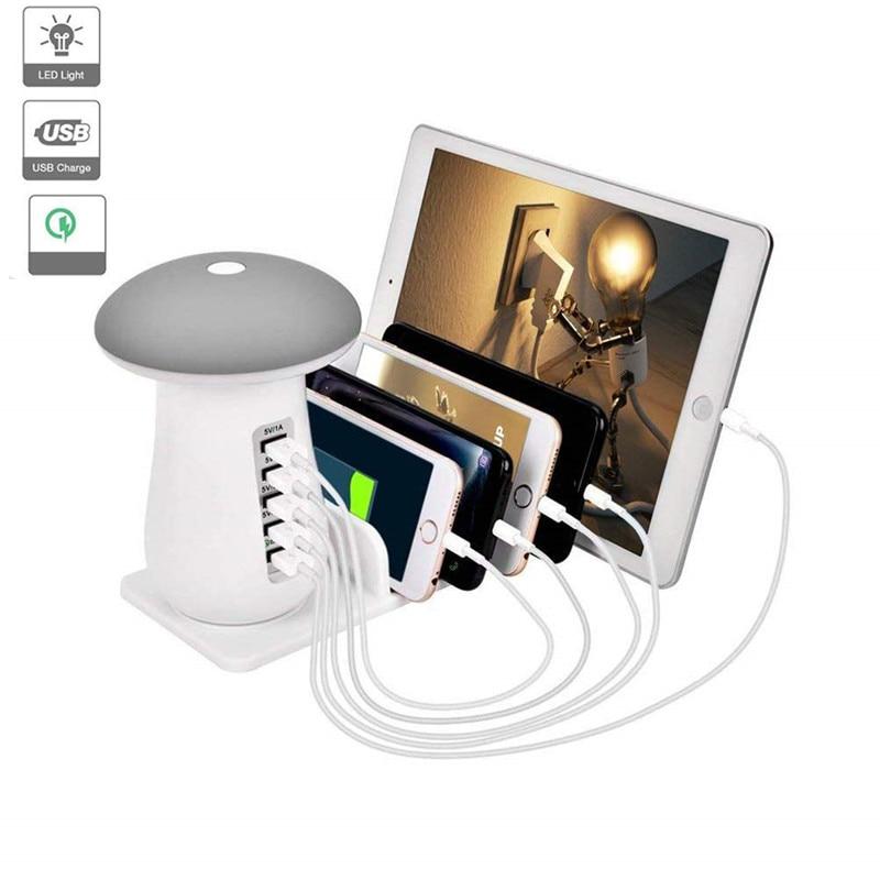 LED Mushroom Lamp 5 Port USB Charger Station