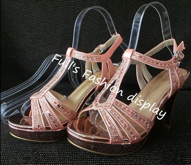 50pcs Fashion Simple style clear elastic plastic Women s sandals show holder Shoe display stand rack
