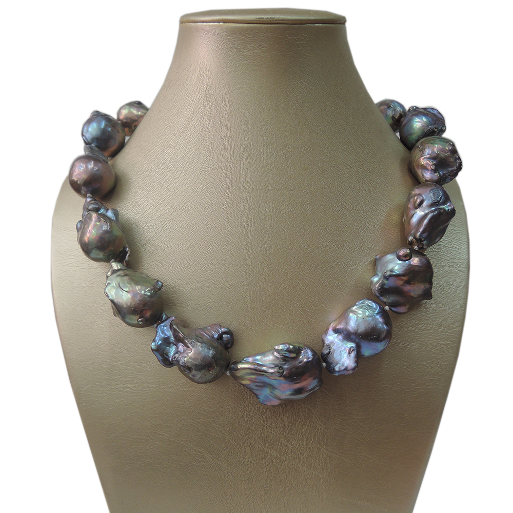 100 FRESHWATER PEARL NECKLACE BIG black Baroque PEARL NECKLACE good quality nice 925 silver CLASP 16