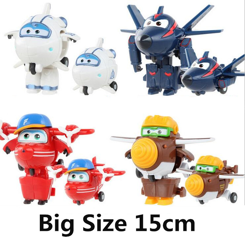 Big!!!15cm ABS 2018 model Deformation Airplane Robot Action Figures Super Wing Transformation toys for children gift Brinquedos newest 18pcs set super wings mini figures toys superwings jett airplane robot action figures birthday gift for kid brinquedos