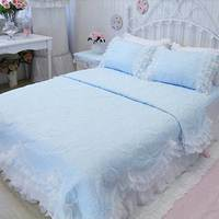 Luxury princess pink blue white purple yellow beding sets,full queen ruffles lace bedclothes bed skirts pillow case quilt cover