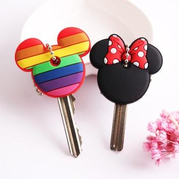 Cartoon Anime Cute Key Cover Cap Silicone Mickey Stitch Bear Keychain Women Gift