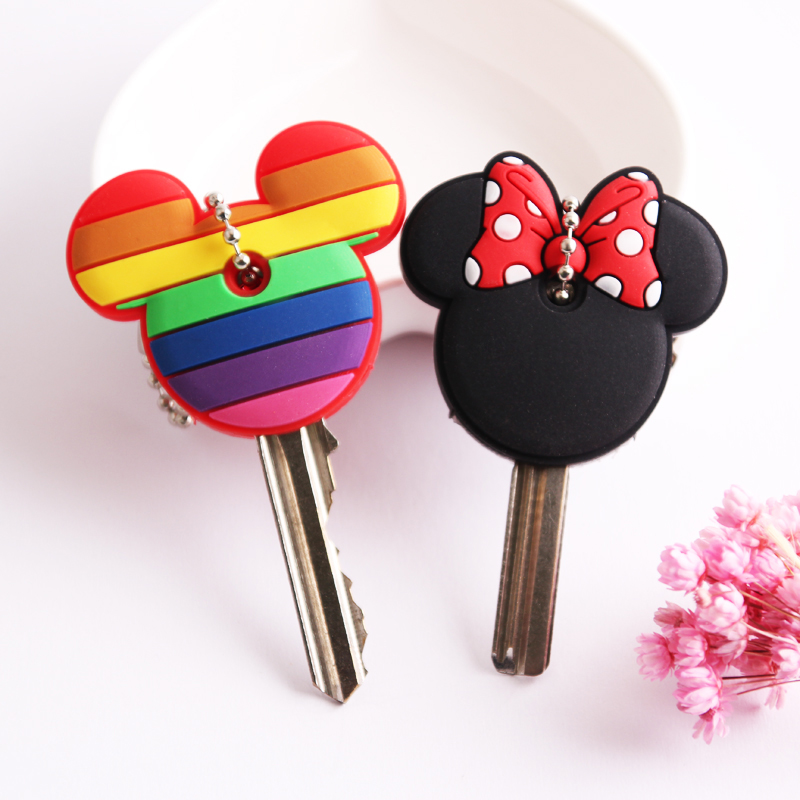 2Pcs/set Cute Cartoon Keychain Silicone Stitch Protective Key Case Cover for Key Control Dust Cap Holder Gift Women Key Chain