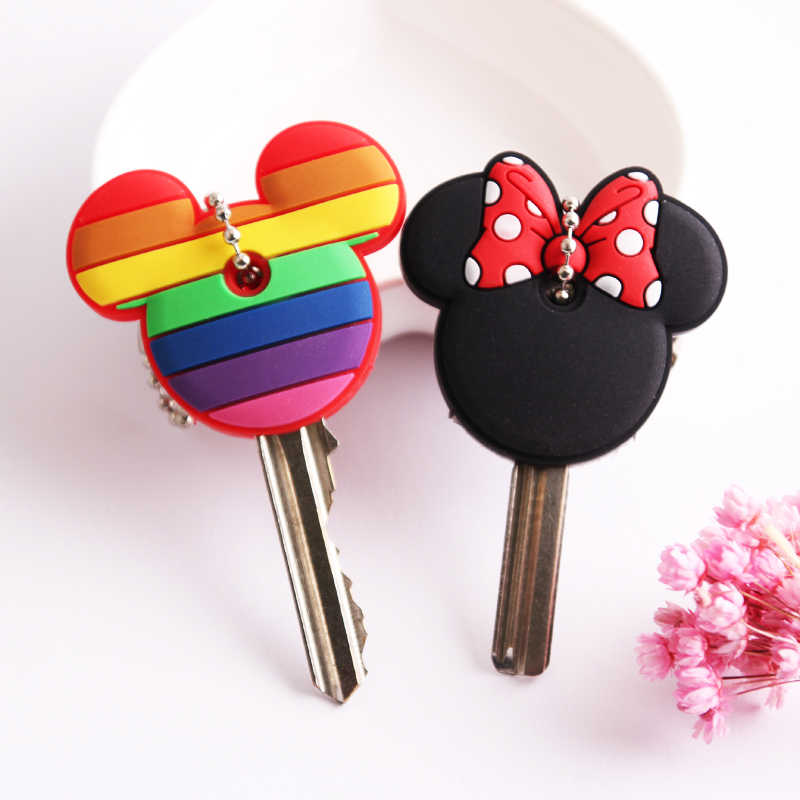 Dessin animé Anime porte-clés mignon Silicone Mickey point ours clé couverture casquette femmes cadeau hibou Porte Clef Minne porte-clés