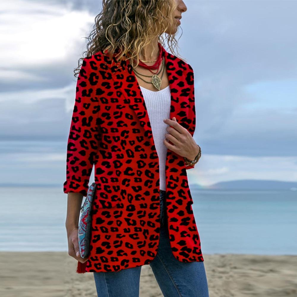 Feitong Women Leopard Coat 2019 Winter Long Sleeve Cardigans Open Front Jackets Outwear Coat Outerwear Red jeans con blazer mujer