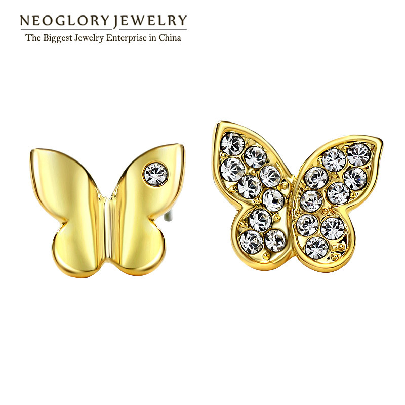 Neoglory Light Yellow Gold Color Austrian Fashion Butterfly Stud Earrings Teen Girl Gift Party 2020 New Brand Jewelry JS6 But-g
