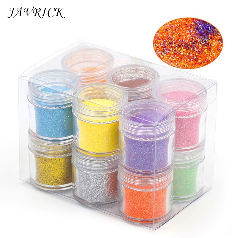 12 Boxes Resin DIY Sequins Glitters Pigment Colorant Crystal Mud Nail Art Crafts