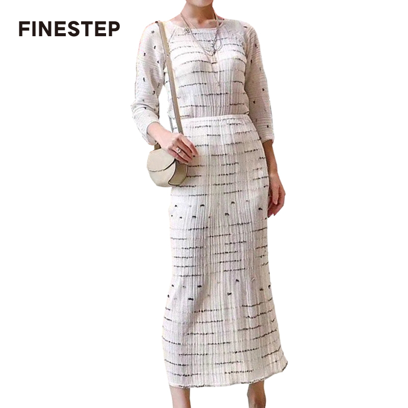Women Two Piece Set Elegant Two Pieces Set Skirt Stripe Womens 2 Piece Summer Skirt Set with Long Sleeves