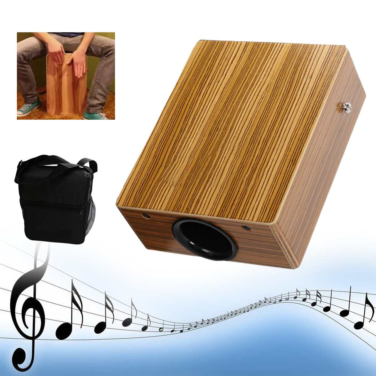 Traveling Cajon Drum Boxing Percussion Box Hand Drum with Braces Bag Adults Party Musical Percussion Instruments Entertainment