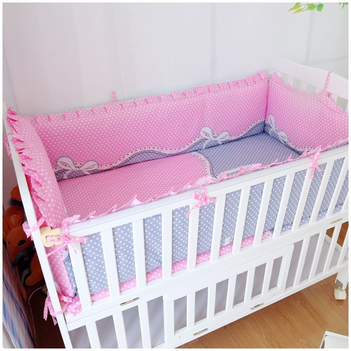 Promotion! 6PCS Baby Cot baby bedding set Pure cotton curtain crib bumper baby cot sets ,include:(bumper+sheet+pillow cover) promotion 6pcs baby bedding set 100% cotton curtain crib bumper baby cot sets include bumpers sheet pillow cover
