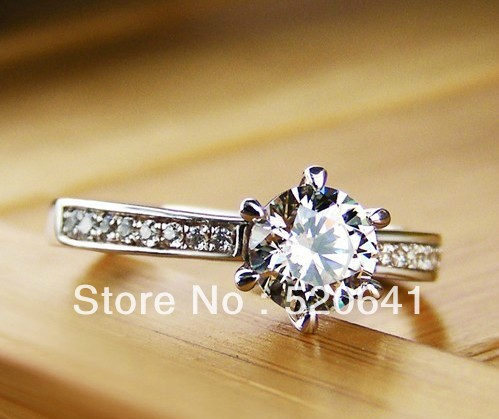 Wholesale Prongs Setting SONA Simulate Diamond Ring 18K White Gold Plated Jewelry Women Ring 925 Sterling Silver Engagement Ring