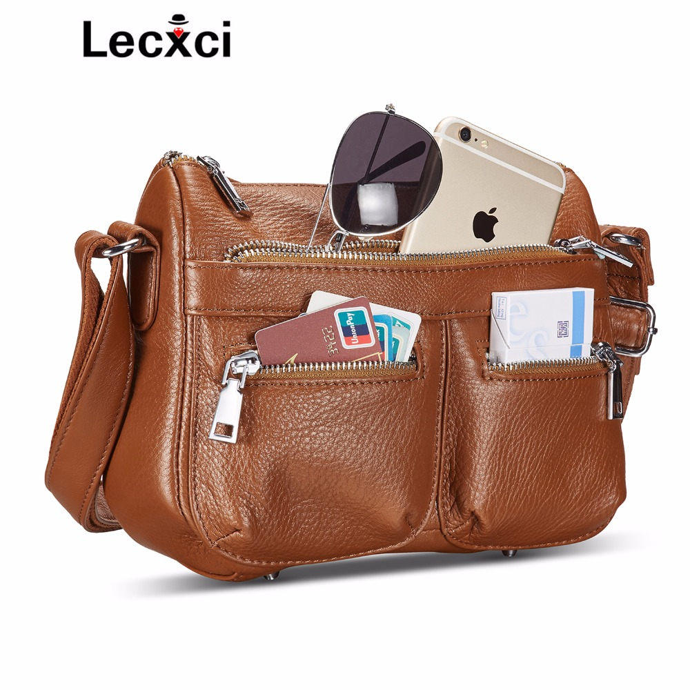 Lecxci ladies large-scale multi-purpose genuine leather shoulder handbag diagonal bag women famous brands handbag travel bag