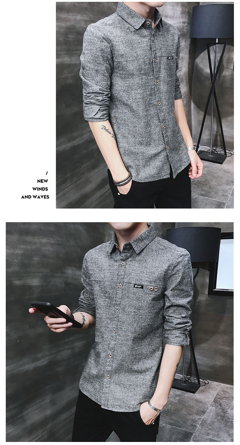 2019 spring new men's shirt Korean version of the self-cultivation youth casual business cotton shirt tide men's boutique shirt 33