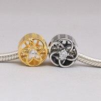 925 Sterling Silver Beads Charms Vàng Bạc Hoa Pha Lê Hạt Phù Hợp Với Phụ Nữ Gốc Pandora Charms Bracelet & Bangle XCY129