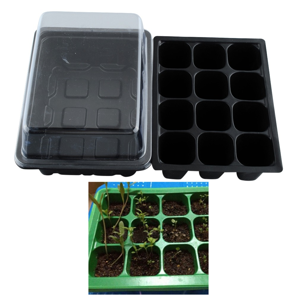 New Useful Durable 12 Cells Hole Plant Seeds Grow Box Tray Insert Case quality* plastic*Plant Seeds Box