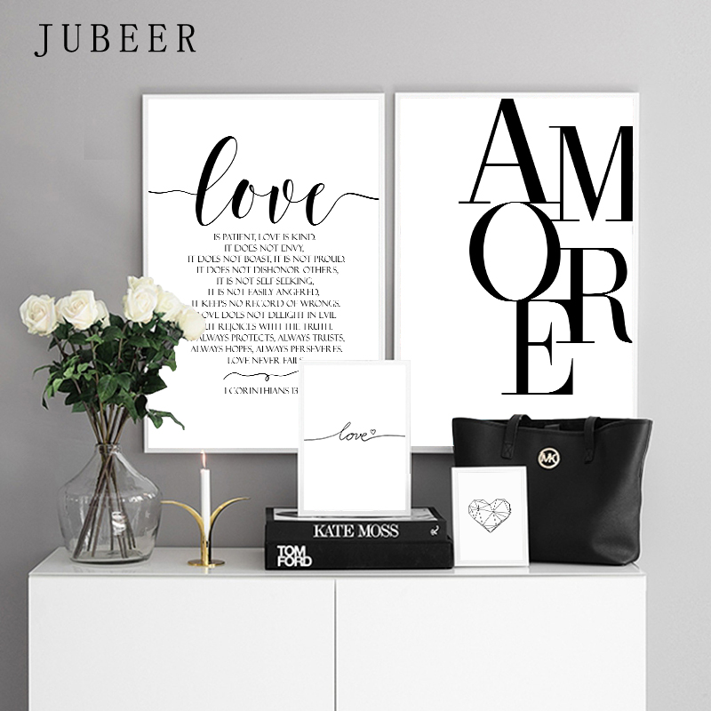 HTB1lUBvXUvrK1RjSspcq6zzSXXaZ Scandinavian Style Love Poster Black and White Canvas Painting Amore Wall Pictures For Living Room Nordic Decoration Home Art