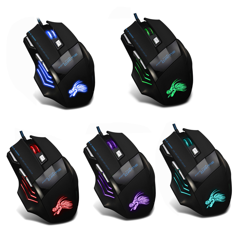 Wired Gaming Mouse Professional 7 Buttons Adjustable 5500DPI USB Cable LED Optical Gamer Mouse for Computer Laptop PC Mice Black цена и фото