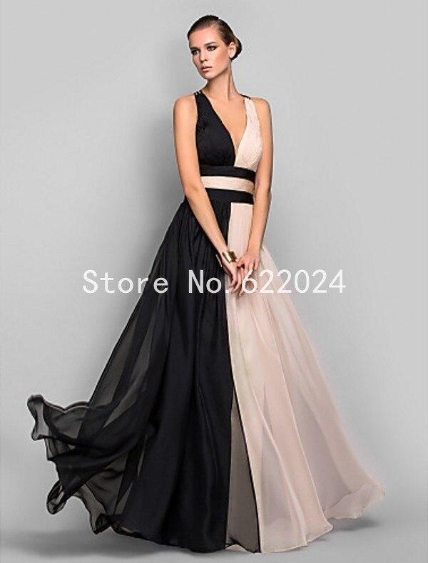 Trasporto libero chiffon elegante abito da sera lungo 2015 molla nero e  rosa aperto indietro prom dresses abiti da sera per le donne HH834 in  Trasporto ... d22a8e25bd7