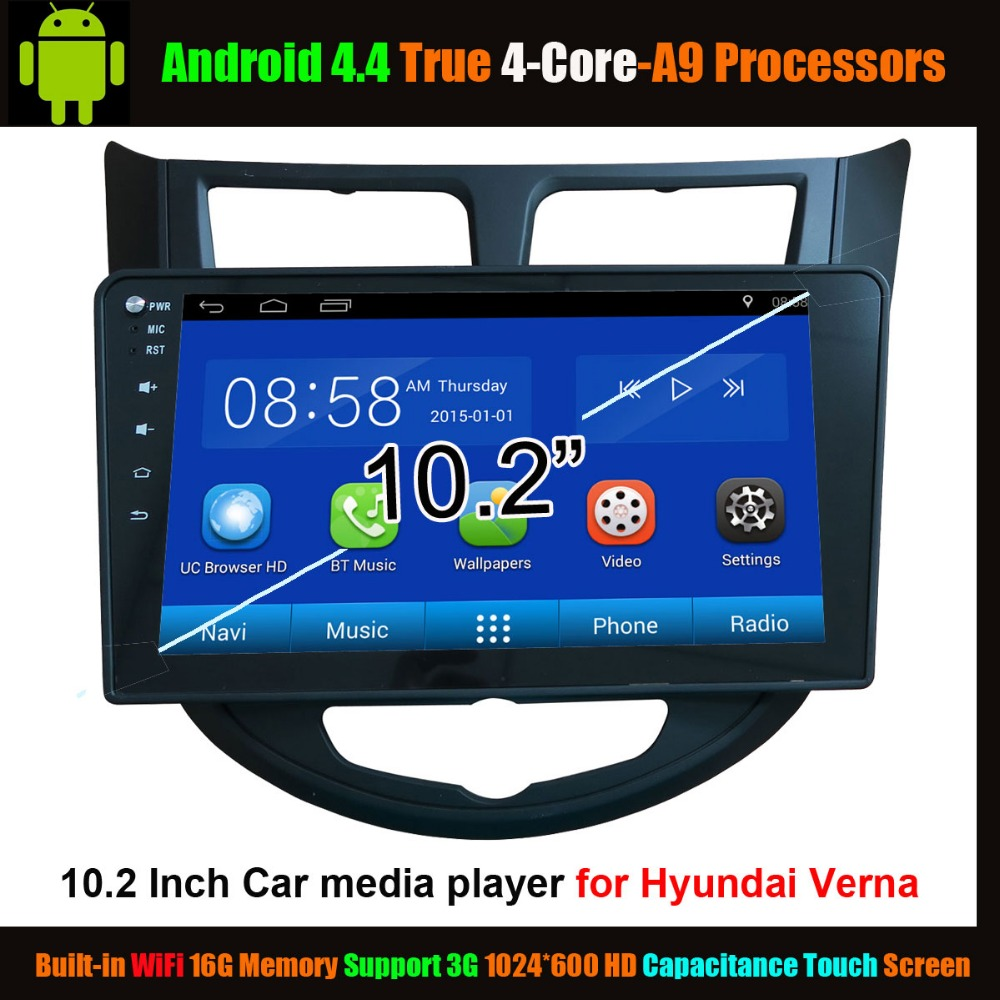 102 Car Media Player For Hyundai Verna Android 44 True 4 Core Lenovo A3500 16gb Midnight Blue Wifi Support 3g 1024600 Hd Capacitance Touch Screen