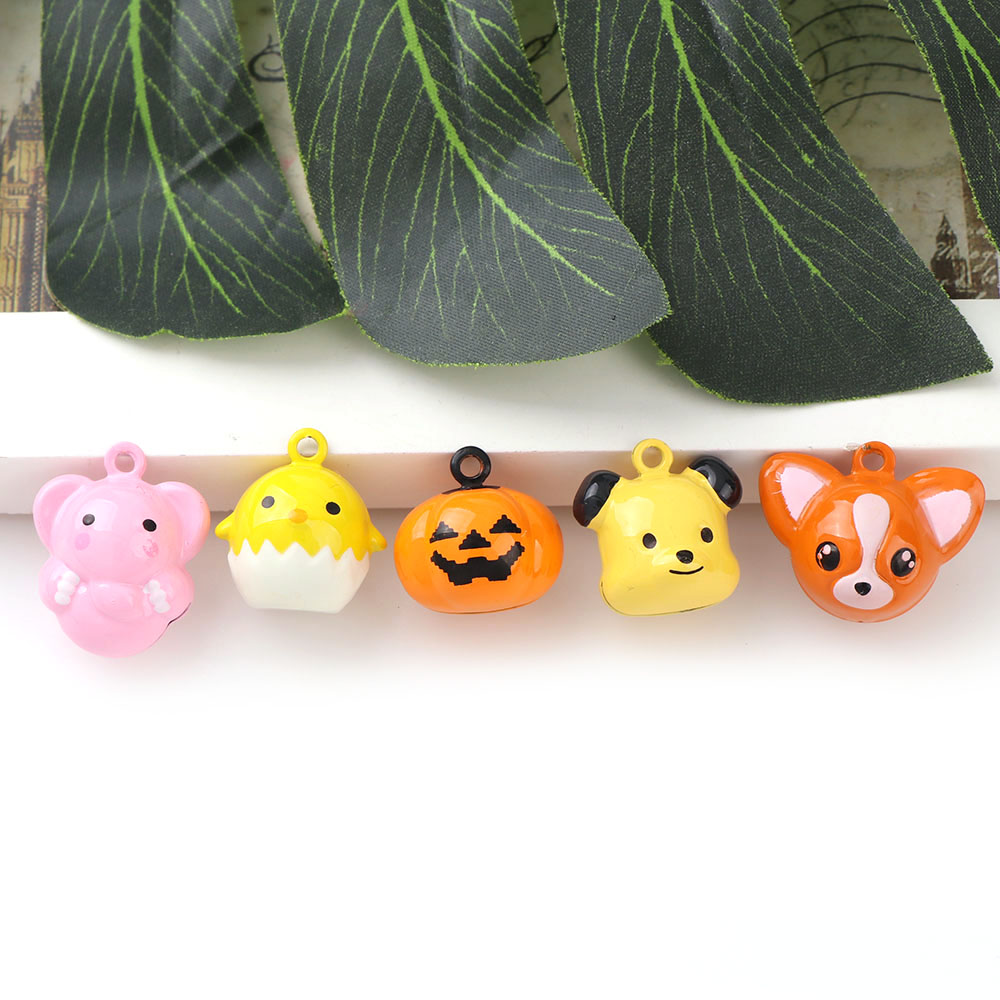 Cute 2PC Mix Style Fox Elephant Chick Bear Jingle Bells Anmials Loose Beads Festival Party Decoration/Pet Bell/DIY Crafts(China)