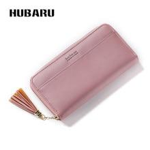 Купить с кэшбэком HUBARU Women Wallets Fashion Leather Zipper Wallet Female Slim Design Coin Purse Black Color Clutch Clamp For Money