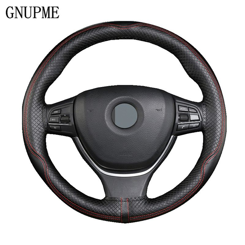 GNUPME Qualität Lenkung Deckt 38 cm DIY Echtes Leder Auto Lenkrad Abdeckung Handmade Braid Auto Innen Zubehör