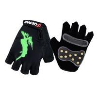 Qepae Noctilucent Unisex Cycling Gloves Men Sports Short Finger Anti Slip Bike Gloves Skating Breathable Pads