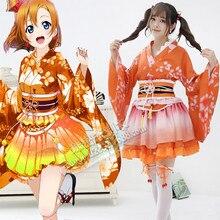 MILLYN Love live School Idol Project Kimono Anime Summer Yukata Dress Girls Honoka Kousaka Cosplay kimono dress цена 2017