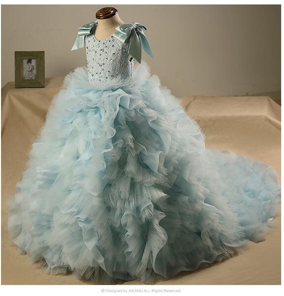 Baby Girls Pageant Formal Dresses 2017 Floor Length Gauze Gowns Infant Girls Princess Tutu Dress Kids Birthday Wedding Dresses yuzhe leather car seat cover for toyota rav4 prado highlander corolla camry prius reiz crown yaris car accessories styling