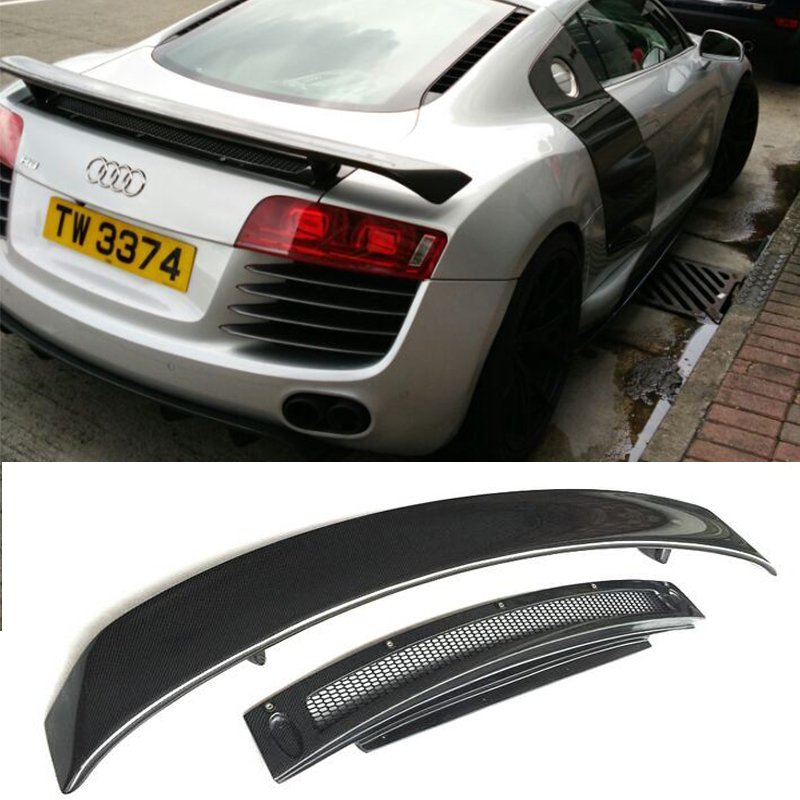 R8 GT Style Carbon Fiber Auto Car Rear Trunk Spoiler Wing For Audi R8 GT  Wing 2007 2016