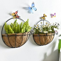 Creative Iron Art Seagrass Flower Basket Home Wall Decoration Adornment Artificial Flower Holder Vase Bonsai Vintage Vases Pots