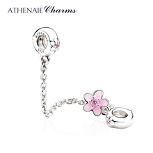ATHENAIE 925 Sterling Silver Pink CZ and Enamel Cherry Flower Safety Chain Charms DIY Beads Fit Charm Bracelet
