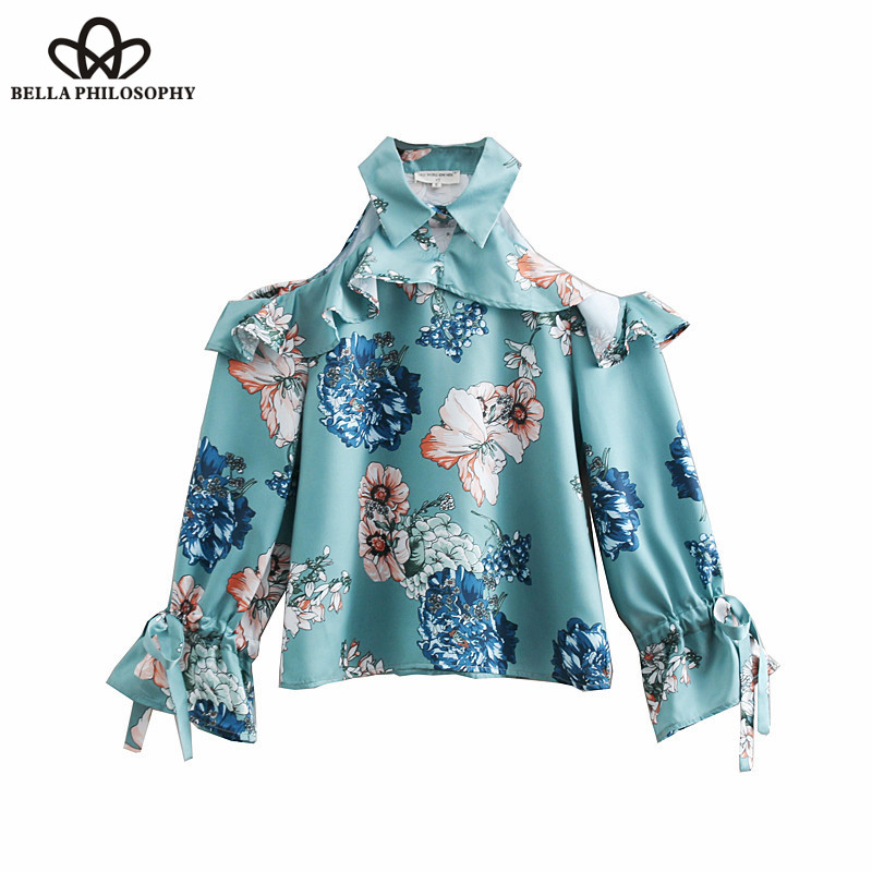 Bella filosofia primavera sexy halter blusa camisas manga longa alargamento feminino blusa solta doce casual senhora rendas-up topos 2019